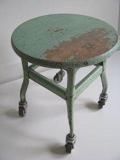Vintage stool on casters by Undergroundastoria on Etsy
