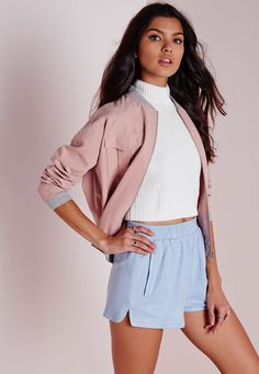 We're crushin' on faux suede this season. With a high waist elasticated fit, pocket detailing on the front and in a soft baby blue hue, these shorts will ensure all eyes are on you. Team with your fave oversized white tee tucked in with...