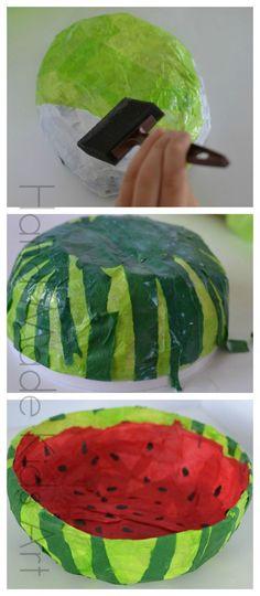 Fun Paper Crafts | Watermelon Paper Mache bowl #papermache