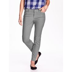 Old Navy Womens The Pixie Chinos ($23) ❤ liked on Polyvore featuring pants, cloud grey, petite, stretchy pants, chinos pants, ankle length pants, flat front pants and old navy pants