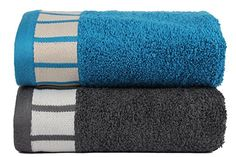 Trident 550gsm Extra Large (20 inches by 28 inches) Cotton 2 Pieces Combo Hand Towels - Teal Sachet & Grey