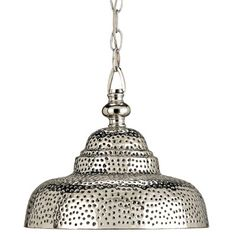 """ooh - bet this casts a pretty pattern on the ceiling. Reminds me of a colander. Would be cute over a kitchen island. (""""Lowell"""" pendant - Currey and Company)"""