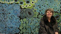 Curator and artistic director of Adelaide's upcoming Tarnanthi indigenous arts festival, Nici Cumpston, with a men's collaborative painting by artists of the Spinifex Arts Project in Tjuntjuntjara. Australian Painters, Australian Artists, Art Production, Wool Thread, Maori Art, Indigenous Art, Aboriginal Art, Dot Painting, Art Festival