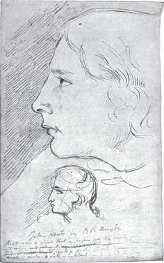 """Haydon's sketch of Keats, done from life in November 1816, and considered by Charles Brown an excellent likeness.  Signed """"John Keats by B R Haydon""""  Several years later he added: """"Keats was a spririt that in passing over the earth came within its attraction and expired in fruitless struggles to make its dull inhabitants comprehend the beauty of his soarings."""""""