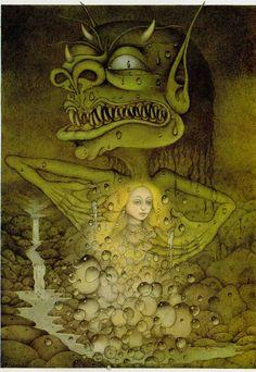 Wayne Anderson (The Magic Inkstand by Heinrich Seidel) Wayne Anderson, Baumgarten, Fantasy Illustration, Art Illustrations, Satyr, 2d Art, Art History, Childrens Books, Book Art