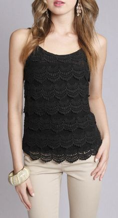 Layered Lace Cami in Black ♡ I love the look of a black top with white pants, capris, shorts or Khakis.