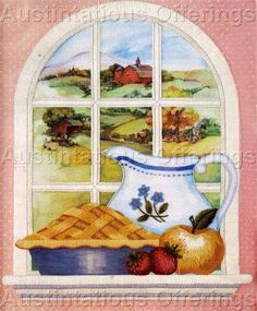 Rare LeClair Country Window View Crewel Embroidery Kit Apple Pie