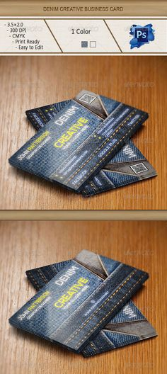 """Denim Creative Business card  #GraphicRiver        Details  3.5×2.0 ( """" 3.75×2.25 """" with bleed settings)  300 DPI CMYK Print Ready!  Full Layered  2 PSD file  Free Fonts Used  Nexa Please Don't Forget To Rate!                     Created: 26 November 13                    Graphics Files Included:   Photoshop PSD                   Layered:   Yes                   Minimum Adobe CS Version:   CS6                   Print Dimensions:   3.5x2.0             Tags      business card #casual #clean #clear #corporate #creative #dark #denim #designer #elegant #formal #horizontal #jeans #modern #personal #print #sleek #square #stylish #visiting card"""