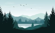 Vector landscape with blue silhouettes of mountains, hills and forest. Vector landscape with blue silhouettes of mountains, hills and forest and sky with clouds and birds - vector graphics Landscape Silhouette, Silhouette Painting, Tree Silhouette, Mountain Silhouette, Forest Landscape, Mountain Landscape, Cool Landscapes, Landscape Paintings, Landscape Design Plans