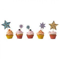 des étoiles en papier découpé, pailletées, décorent des cupcakes en guise de gâteau d'anniversaire. Printable Star, Free Printables, Christmas Kitchen, Mini Cupcakes, My Images, Party Time, Cake Toppers, Diy, Crafty