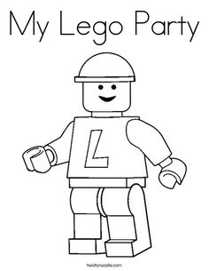 My Lego Party Coloring Page from TwistyNoodle.com