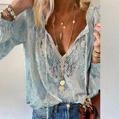 Summer Women Blouses Elegant V Neck Bottoming Long-sleeved Pink Shirt Lace Hook Flower Hollow Casual Shirts Blouse Plus Size 3XL Long Sleeve Tops, Long Sleeve Shirts, Trend Fashion, Style Fashion, Spring Fashion, Fashion Outfits, Types Of Sleeves, Shirt Blouses, Casual Shirts
