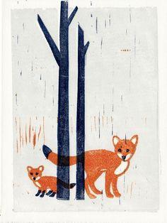 FOXES linocut hand-pulled art illustration block print 5 x 7 woodland, forest theme, nursery decor, wall art. $28,00, via Etsy.