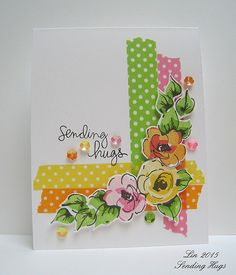 I haven't played with these wonderful Altenew Painted Flowers in awhile, so I pulled them out and started playing, trying different color combinations with them. Then I decided to CASE a card I made