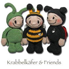 Ravelry: Bugs & friends pattern by Zhaya Designs Crochet Unicorn Hat, Crochet Bee, Diy Crochet And Knitting, Crochet Amigurumi Free Patterns, Crochet Dolls, Free Crochet, Crochet Bookmarks, Crochet Animals, Baby Goods