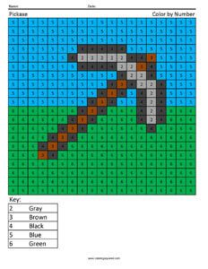 Minecraft Pickaxe- Color by Number