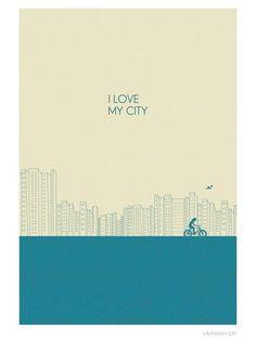 """i love my city"" art print by judy kaufmann"