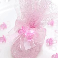 60 pcs Pink Plastic Baby Girl Shower Favors Booties Party Decorations WHOLESALE