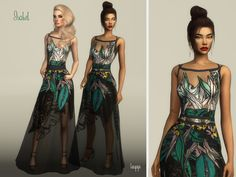 New long dress with transparencies -4 Swatches (with and without belt) Download