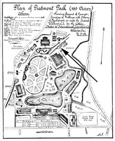 In 1895, as the country struggled to emerge from one of its worst economic depressions, Atlanta held a large exposition at Piedmont Park: the great Cotton States and International Exposition. Planning began in December 1893. In addition to several large exhibit halls erected by the exposition company, there were smaller structures and exhibits sponsored by other states as well as a few Central and South American countries.
