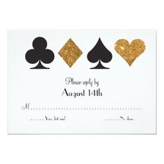 Destiny Las Vegas Wedding reply faux gold glitter Card