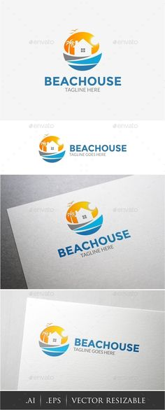 Beach House  Logo Design Template Vector #logotype Download it here:  http://graphicriver.net/item/beach-house-logo/12724862?s_rank=756?ref=nexion