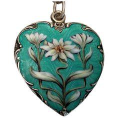Art Nouveau, Pandora Bracelet Charms, Charm Bracelets, Deco Blue, Heart Chain, Geometric Necklace, Enamel Jewelry, Daisy, Silver Charms