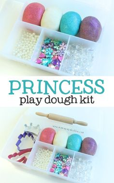 Oh, this looks like so much fun for creative girls. Hours of pretend play! A princess play dough kit. Perfect for little ones who love sparkle and everything fancy! Homemade Christmas Gifts, Homemade Gifts, Christmas Diy, Handmade Christmas, Homemade Kids Toys, Christmas Projects, Playdough Activities, Craft Activities, Motor Activities