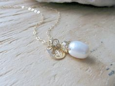 freshwater pearl necklace,Personalized Pearl Necklace & Initial,Initial Necklace,bridesmaid gift sets,beach wedding,bridal jewelry,wedding by toesinthesandjewels on Etsy