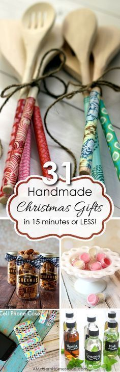 Handmade gifts are a wonderful way to show you care. But sometimes there's just not enough time to squeeze in a big project! Here are 31 handmade gifts you can make in 15 minutes or less! (handmade christmas presents budget) Handmade Christmas Gifts, Homemade Christmas, Xmas Gifts, Easy Handmade Gifts, Unique Gifts, Handmade Items, Christmas Projects, Holiday Crafts, Christmas Crafts