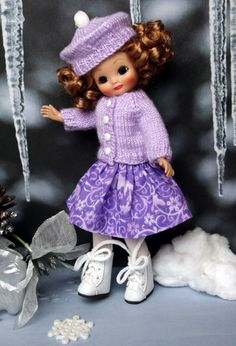 """*SNoWFLaKeS and SuGaRPLuMS* Handknit Sweater,Skirt,& Hat for 8"""" Tonner Tiny Betsy McCall, 2014 Patsyette, Alice Kingsley, or Tiny Ann Estelle Dolls. Only ONE set made and available now at www.karmelapples.com for instant purchase."""
