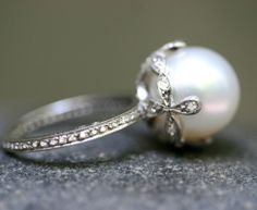 Platinum / Diamond / Pearl Ring in Designers Cathy Waterman Love of My Life at TWISTonline