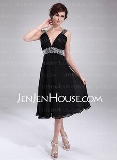 Homecoming Dresses - $123.99 - A-Line/Princess V-neck Knee-Length Chiffon  Charmeuse Homecoming Dresses With Beading (022011115) http://jenjenhouse.com/A-line-Princess-V-neck-Knee-length-Chiffon-Charmeuse-Homecoming-Dresses-With-Beading-022011115-g11115