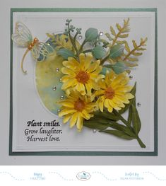 Selma's Stamping Corner and Floral Designs: Yellow Shasta Daisies Flower Cards, Paper Flowers, Shasta Daisies, Elizabeth Craft Designs, Shaped Cards, Heartfelt Creations, Fall Cards, Card Maker, Flower Making