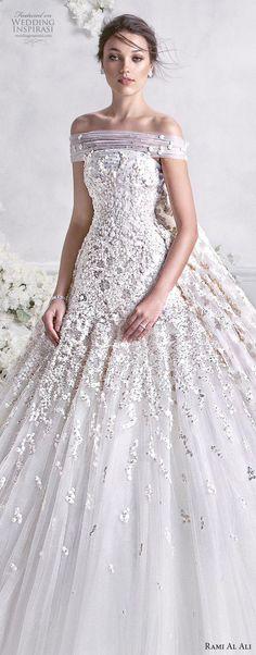 rami al ali 2018 bridal off the shoulder straight across neckline heavily embellished bodice princess ball gown a line wedding dress royal train (2) lv