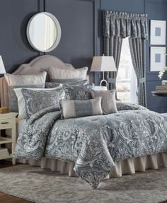 Croscill Gabrijel Queen Comforter Set In Slate Blue Damask Bedding, Blue Bedding Sets, Queen Comforter Sets, Luxury Bedding Sets, Floral Comforter, Blue Comforter, Camas King, Bed Styling, Home Living