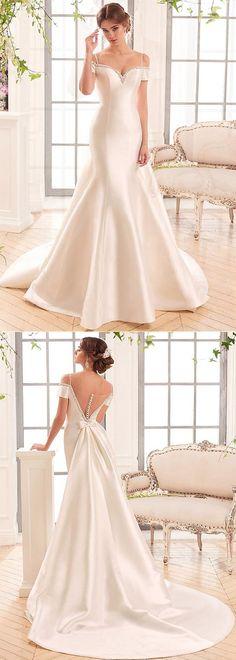 Marvelous Satin Off-the-shoulder Neckline Mermaid Wedding Dresses With Beadings