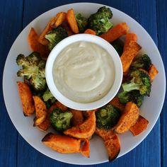 Roast Broccoli & Sweet Potato Fries with Spicy Tahini Sauce.