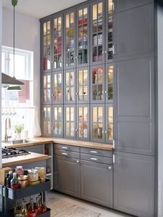 IKEA Sweden has a new gray kitchen, similar to what we'll be hacking by painting all of our Ramsjo doors, drawers, and face panels.  Not sure if it will come out in time for our kitchen reno next spring, but it's nice to see that the gray and butcher block work well together!