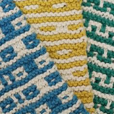 The Mosaic Sisters pattern- a set of colorful mosaic knit kitchen towels, washcloths, and coasters - is here!Meet the sisters and get the pattern. Check out the other tutorials for the Mosaic Sisters:The Long Tail Cast On & Stripes And Carrying Yarn Up The Side. Mosaic knitting is a