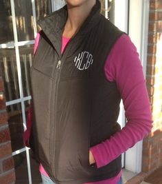 FALL SALE Monogrammed Personalized Ladies by southernmonograms Vest Coat, Hooded Jacket, Puffy Vest, Hot Pink, Pink White, Black Vest, Equestrian Style, Me Too Shoes, Girl Stuff