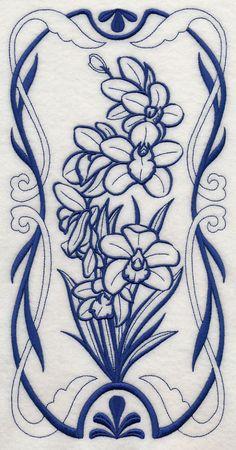 Art Nouveau Cymbidium Orchid (Bluework)