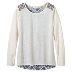 prAna Jivani Top ($75) ❤ liked on Polyvore featuring tops, shirts & tops, winter, lace trim top, prana, cocktail tops, shirt tops and prana tops