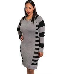Grey & Black Sweater Dress (Plus Size)