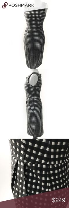 """nanette lepore • laura b&w gingham check dress • 2 Beautiful sheath dress in black & ivory check print from Nanette Lepore features square neckline with black lace trim, pockets at hips, inverted back pleat. Pleats at front waist. Invisible back zip. Fully lined. Fitted silhouette.   • size 2 • 33"""" bust, 27"""" waist, 36"""" hips, 40"""" length  • style name: laura • color: black and ivory gingham • fabric: stretch jacquard • shell: 70% cotton/26% nylon/4% elastane • lining: 100% polyester • new with…"""