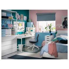 "ALEX Drawer unit, white, 14 1/8x27 1/2"" - IKEA Bureau Alex Ikea, Ikea Alex Desk, Ikea Alex Drawers, Clever Design, Smart Design, Tocador Vanity, Small Workspace, Girls Bedroom, Bedroom Decor"