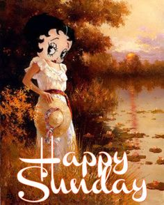 Click on image to view full size Happy Sunday Betty Boop graphics and greetings Sunday Blessings - Betty Boop dressed in orange on fal...