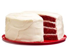 Red Velvet Layer Cake:  Fill layers of moist red velvet cake with a decadent cream cheese frosting for this cake that can feed a crowd.