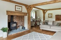 frames and borders Manor Houses - Border Oak - oak framed houses, oak framed garages and structures. Cottage Living Rooms, Cottage Interiors, Home Living Room, Living Room Designs, Living Room Decor, Bedroom Decor, Log Burner Living Room, Living Room With Fireplace, Barn Conversion Interiors