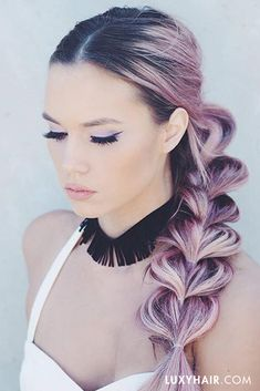 Pull-through braid with #luxyhairextensions. The gorgeous @kirstenzellers colored her Luxies in this fun shade!